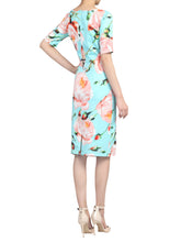 Load image into Gallery viewer, Half Sleeve Floral Print Ruched Dress, Green Floral