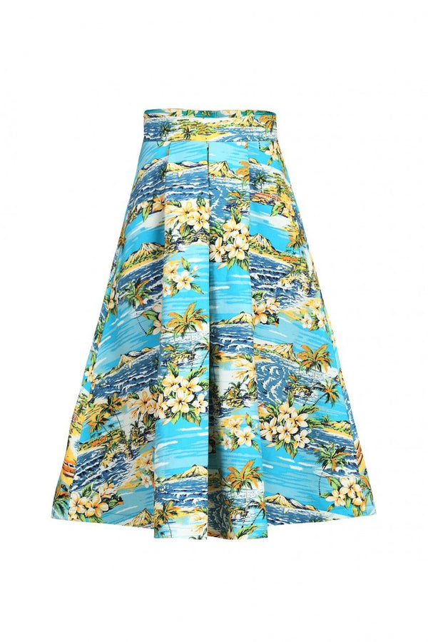 Retro Pattern Print Midi Skirt, Blue Pattern