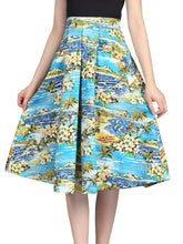 Load image into Gallery viewer, Jolie Moi Retro Pattern Print Midi Skirt, BLUE PATTERN