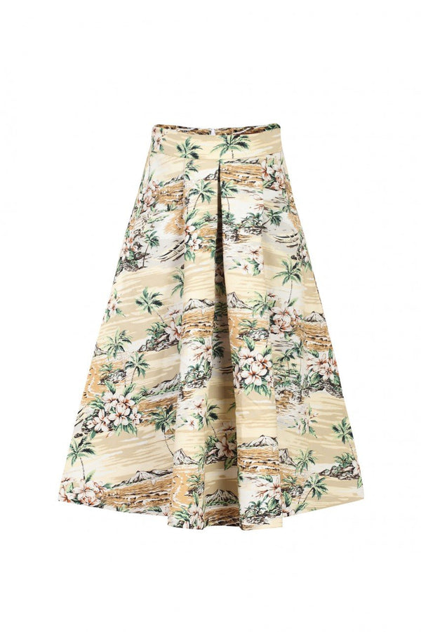 Jolie Moi Retro Pattern Print Midi Skirt,brown