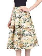 Load image into Gallery viewer, Jolie Moi Retro Pattern Print Midi Skirt,brown