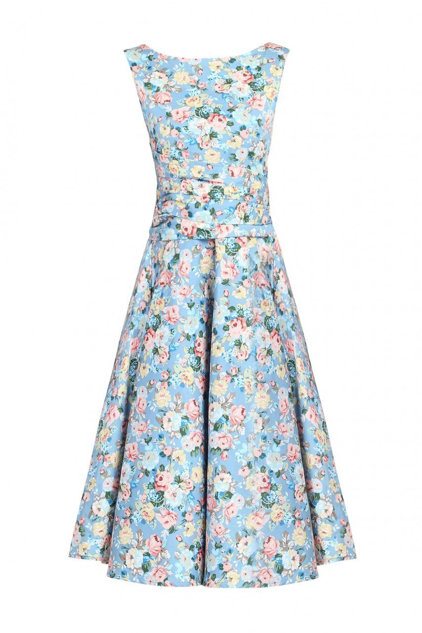 Floral 50s Wrap Belt Dress