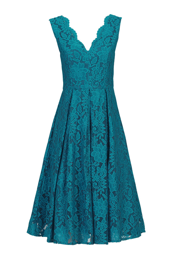 Scalloped V Neck Pleated Lace Prom Dress, Teal
