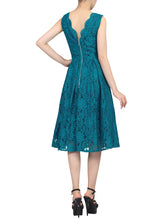 Load image into Gallery viewer, Scalloped V Neck Pleated Lace Prom Dress, Teal