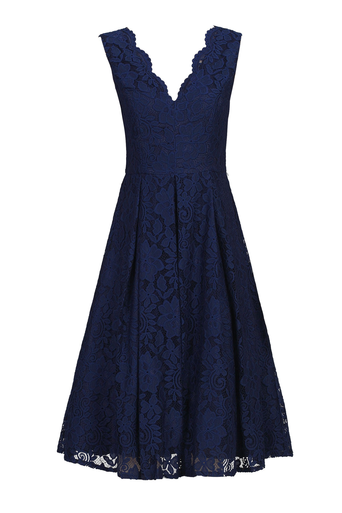 Scalloped V Neck Pleated Lace Prom Dress, Navy
