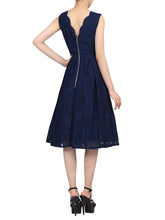 Load image into Gallery viewer, Scalloped V Neck Pleated Lace Prom Dress, Navy