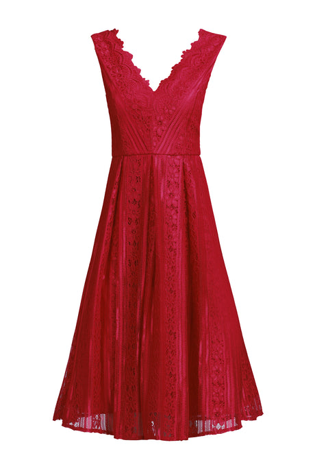 Scalloped V Neck Lace Dress, Red