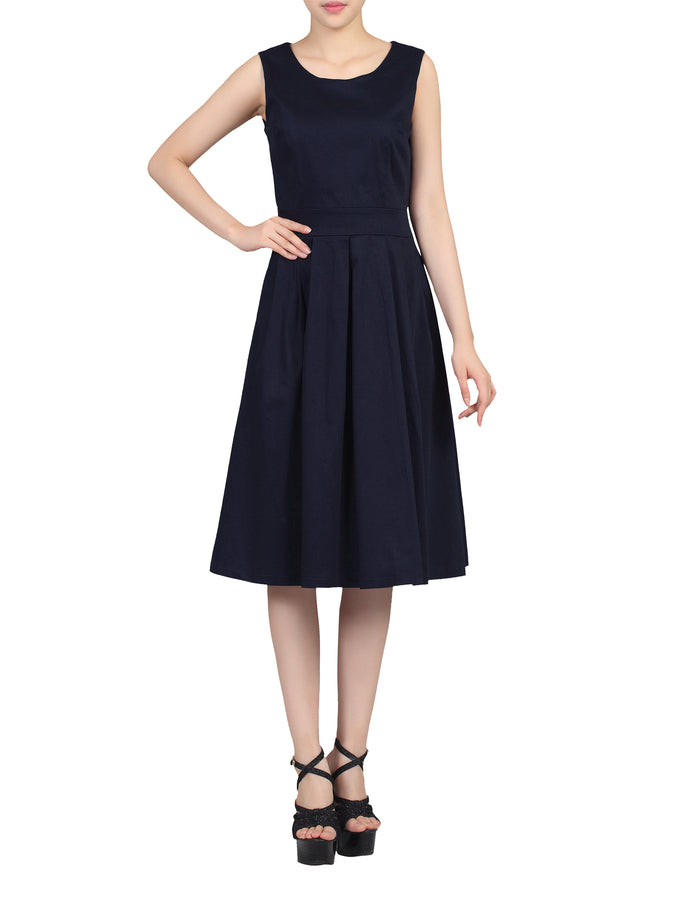 50' s Pleated Prom Dress, Navy