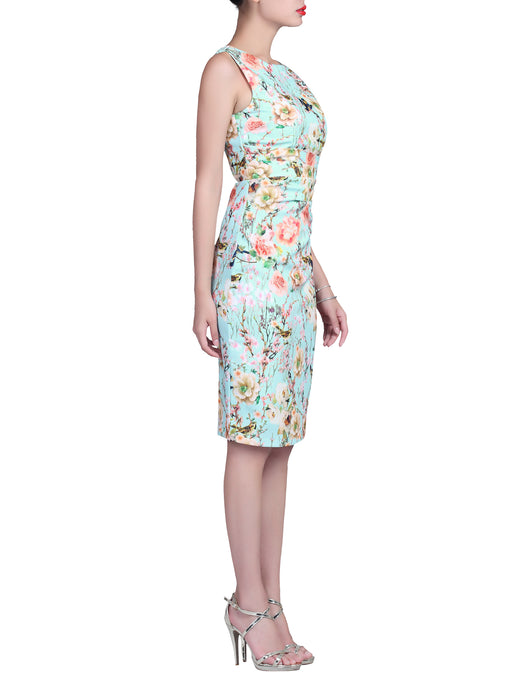 Floral Print Ruched Shift Dress, Aqua floral