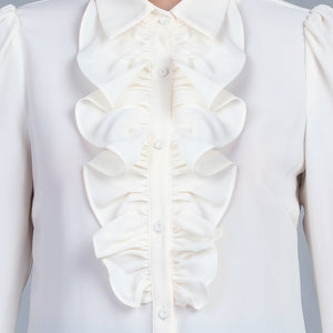 Ruffle Front Shirt, Cream