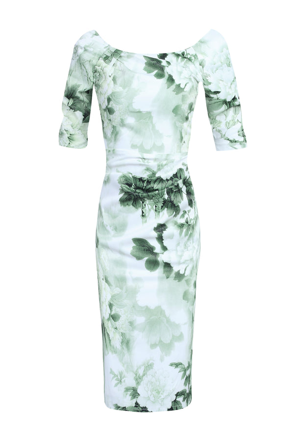 Half Sleeve Ruched Dress, Green Pattern