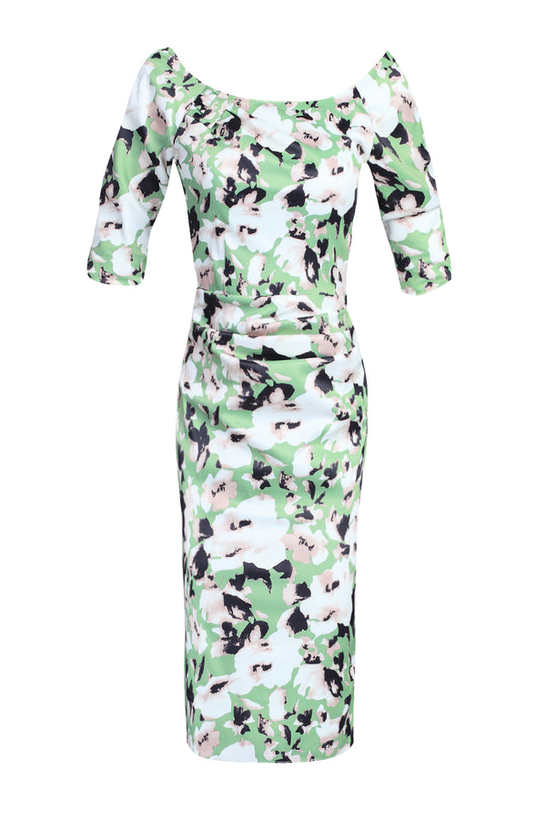 Floral Print Half Sleeve Dress, Green Floral