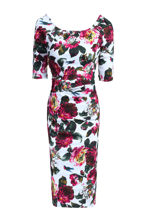 Half Sleeve Wiggle Dress, White Floral