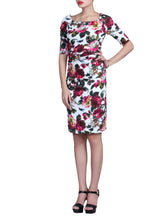 Load image into Gallery viewer, Half Sleeve Wiggle Dress, White Floral