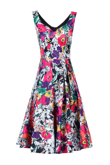 Retro Floral Printed Prom Dress