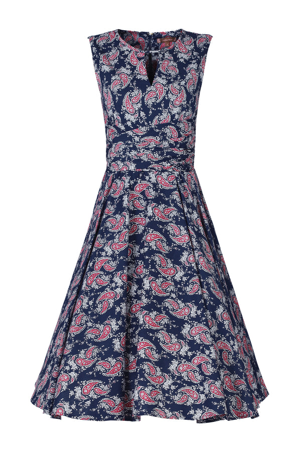 Paisley Print Wrap Belt Full Circle Dress, Navy Floral