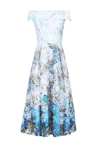 Lace Printed Midi Dress, Blue Floral