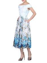 Load image into Gallery viewer, Lace Printed Midi Dress, Blue Floral