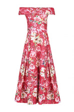 Load image into Gallery viewer, Jolie Moi Lace Bonded Sequin Midi Dress, Red Floral
