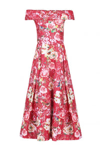 Jolie Moi Lace Bonded Sequin Midi Dress, Red Floral