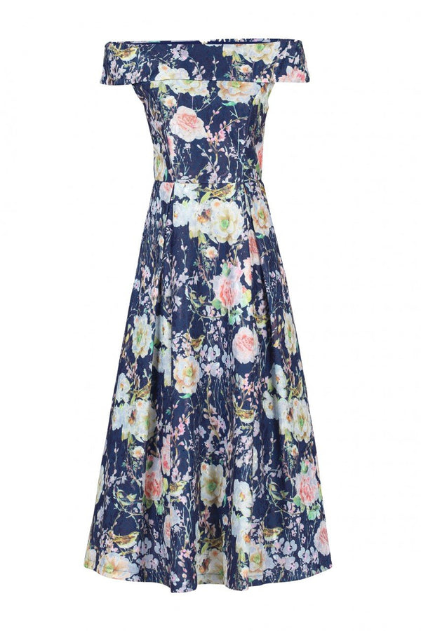 Jolie Moi Lace Bonded Sequin Midi Dress, Navy Floral