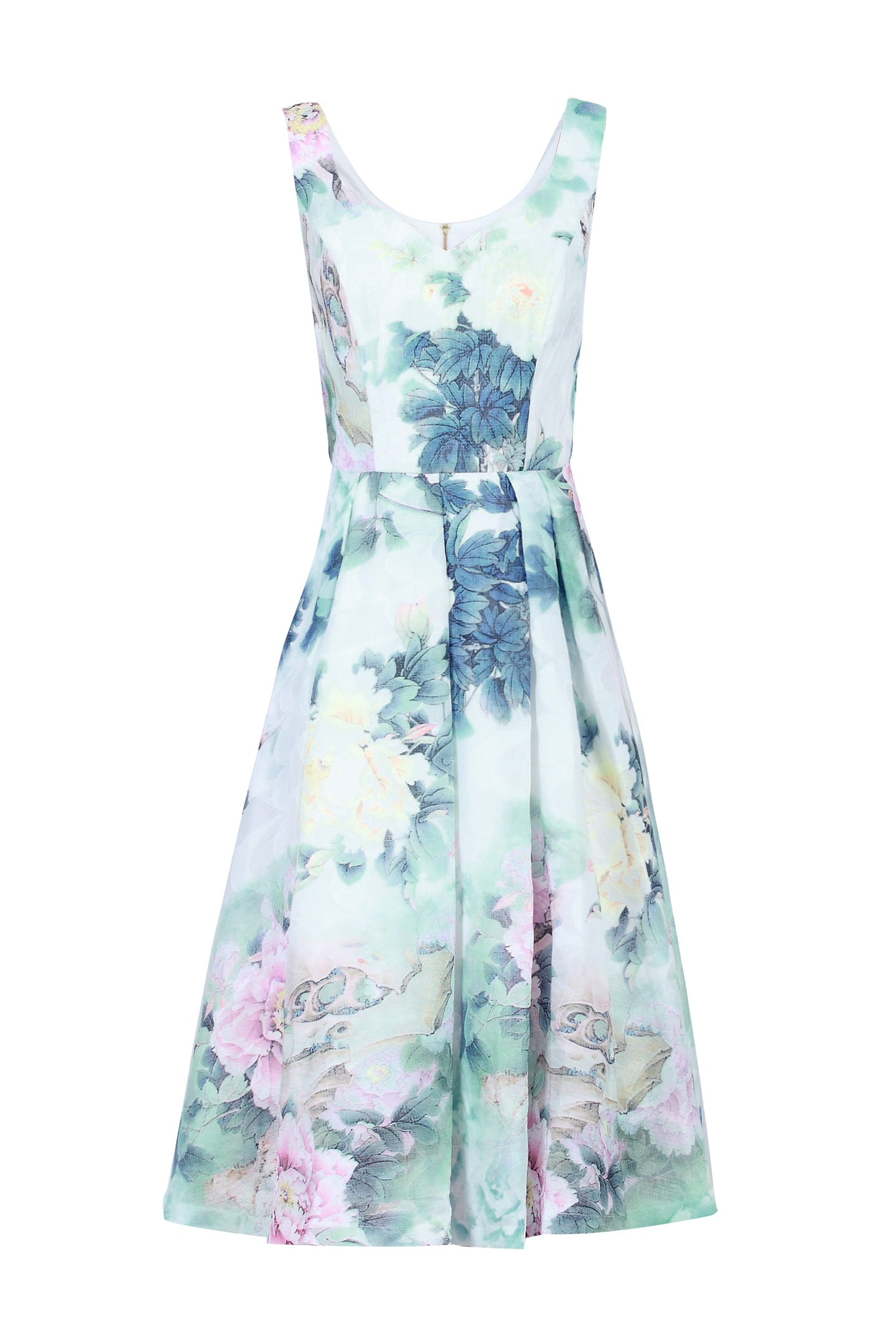 Floral Print Textured Prom Dress, Green Floral