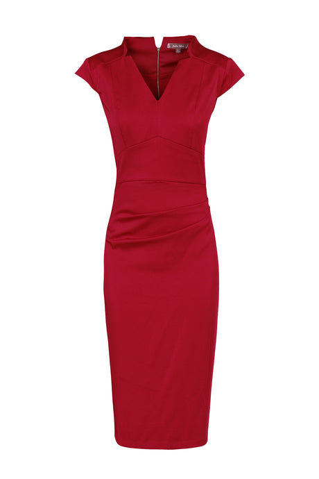 High Collar Ruched Bodycon Dress