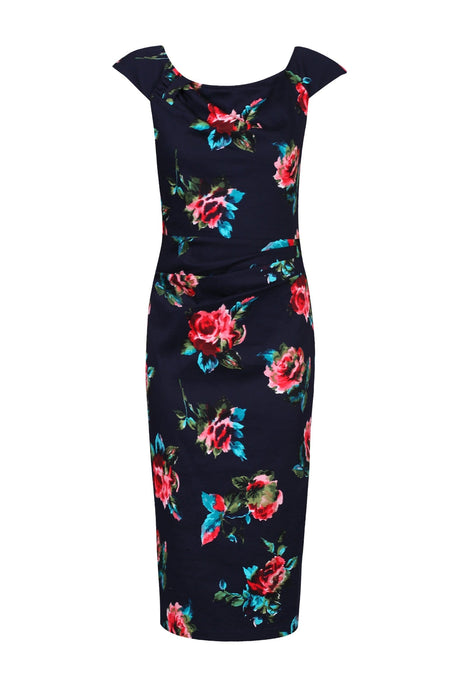 Floral Print Ruched Wiggle Dress, Navy Floral