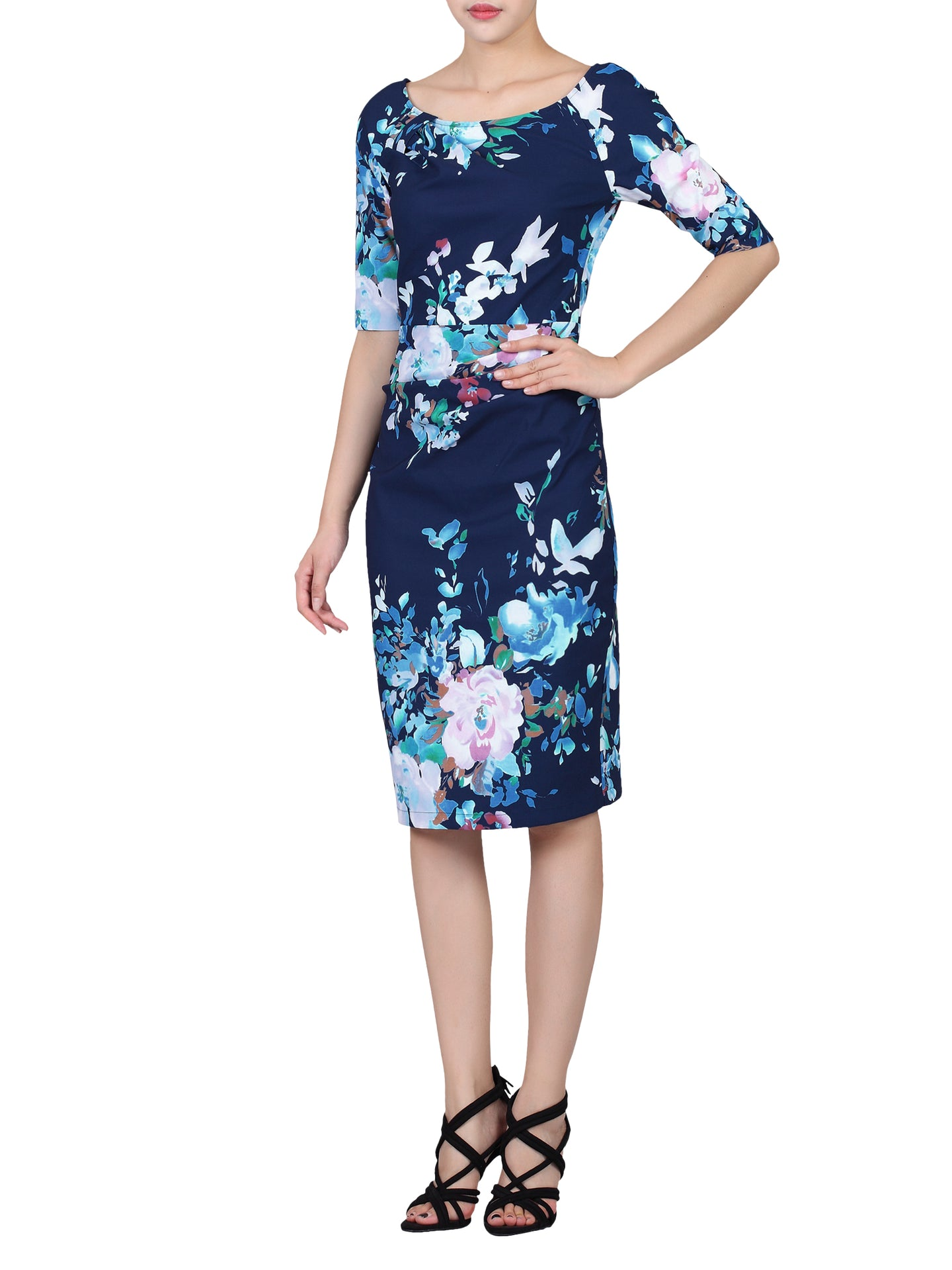 Floral Print 1/2 Sleeve Dress, Navy