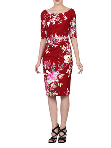 Floral Print 1/2 Sleeve Dress, Dark Red