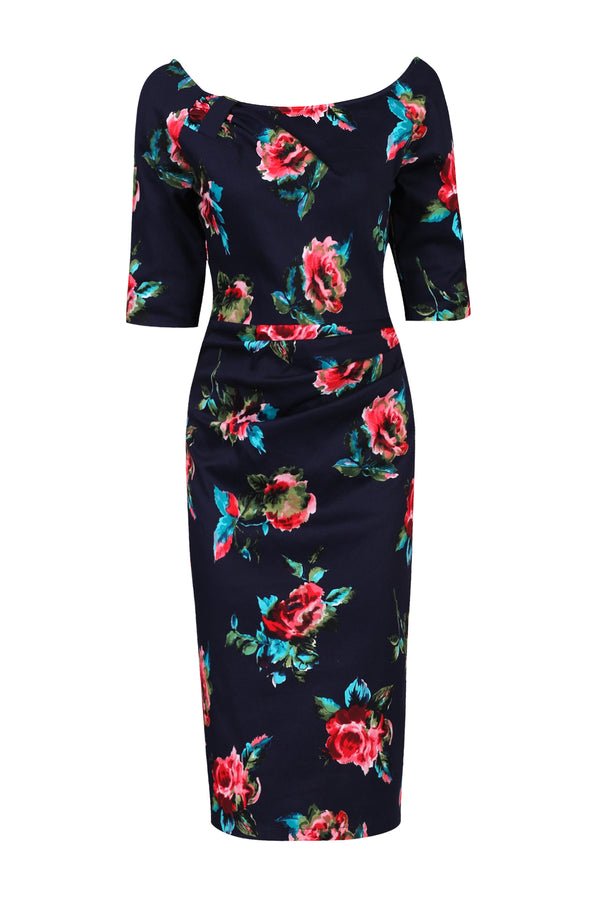Retro Floral Print Half Sleeve Dress, Navy Floral