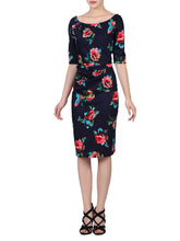 Load image into Gallery viewer, Retro Floral Print Half Sleeve Dress, Navy Floral