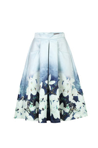 Floral Print Pleated A -Line Skirt, Grey Floral