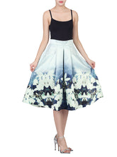Load image into Gallery viewer, Floral Print Pleated A -Line Skirt, Grey Floral