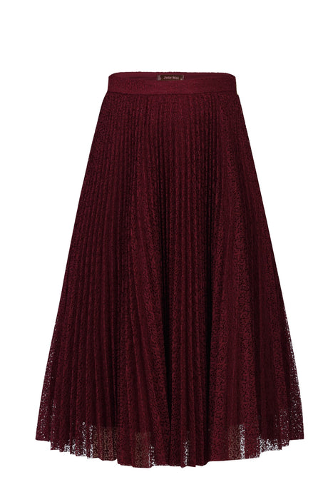Lace Pleated A-line skirt, Burgundy