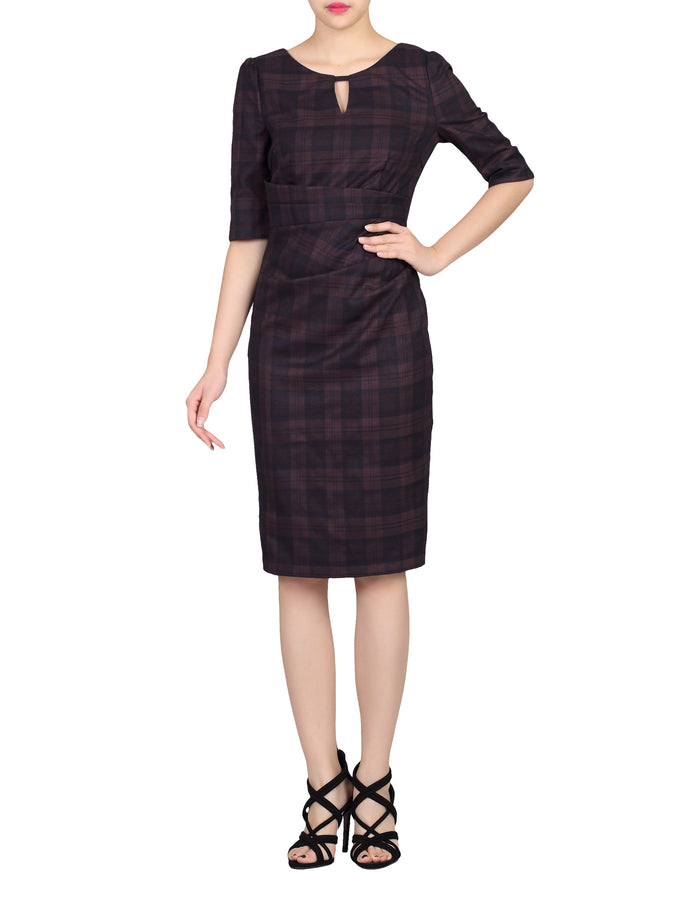 Checked Woven Shift Dress, Black Check