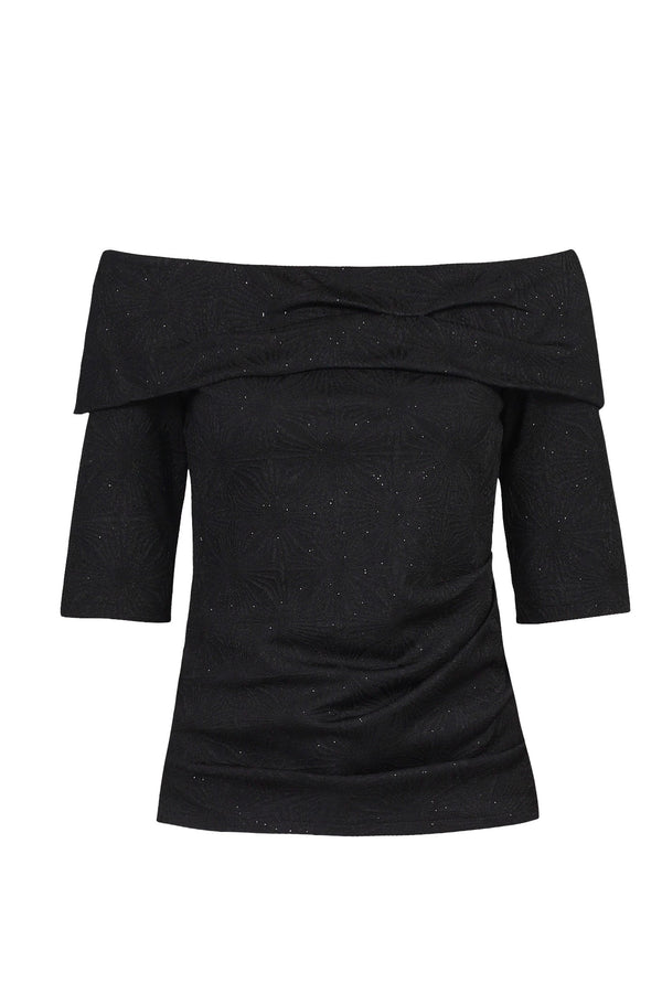 Jolie Moi Textured Bardot Neck Top, Black