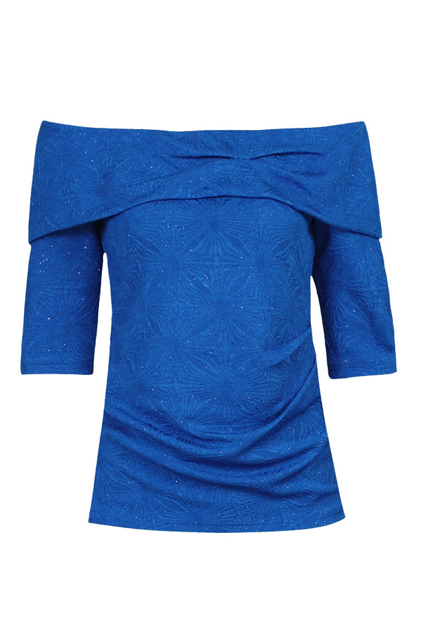 Jolie Moi Textured Bardot Neck Top, Royal Blue