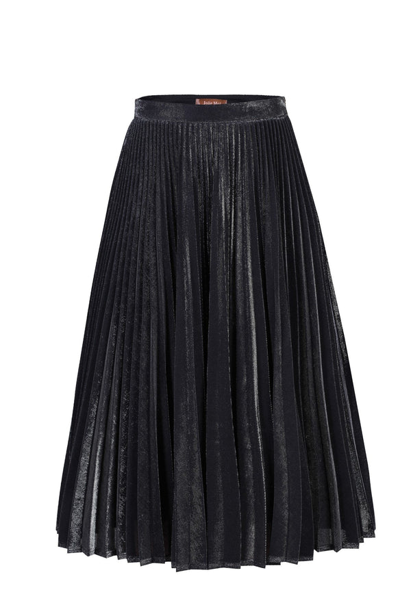 Metallic Pleated A-Line Skirt, Black