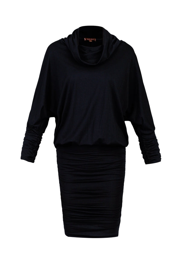 Cowl Neck Batwing Sleeved Tunic, Navy