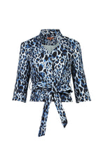 Load image into Gallery viewer, Leopard Print High Neck Blazer, Leo Print Grey