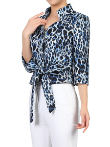 Leopard Print High Neck Blazer, Leo Print Grey