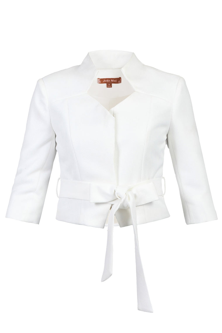 3/4 Sleeve High Neck Blazer, IVORY