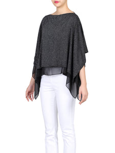 Metallic Double Layered Cover Up, Black-Silver
