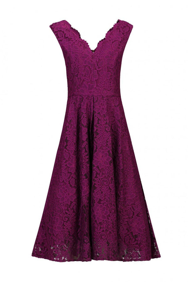 Jolie Moi Scalloped V-Neck Lace Prom Dress, Dark Purple