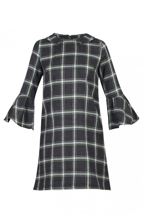 Jolie Moi Checked Fluted Sleeve Velvet Tunic, Green Check
