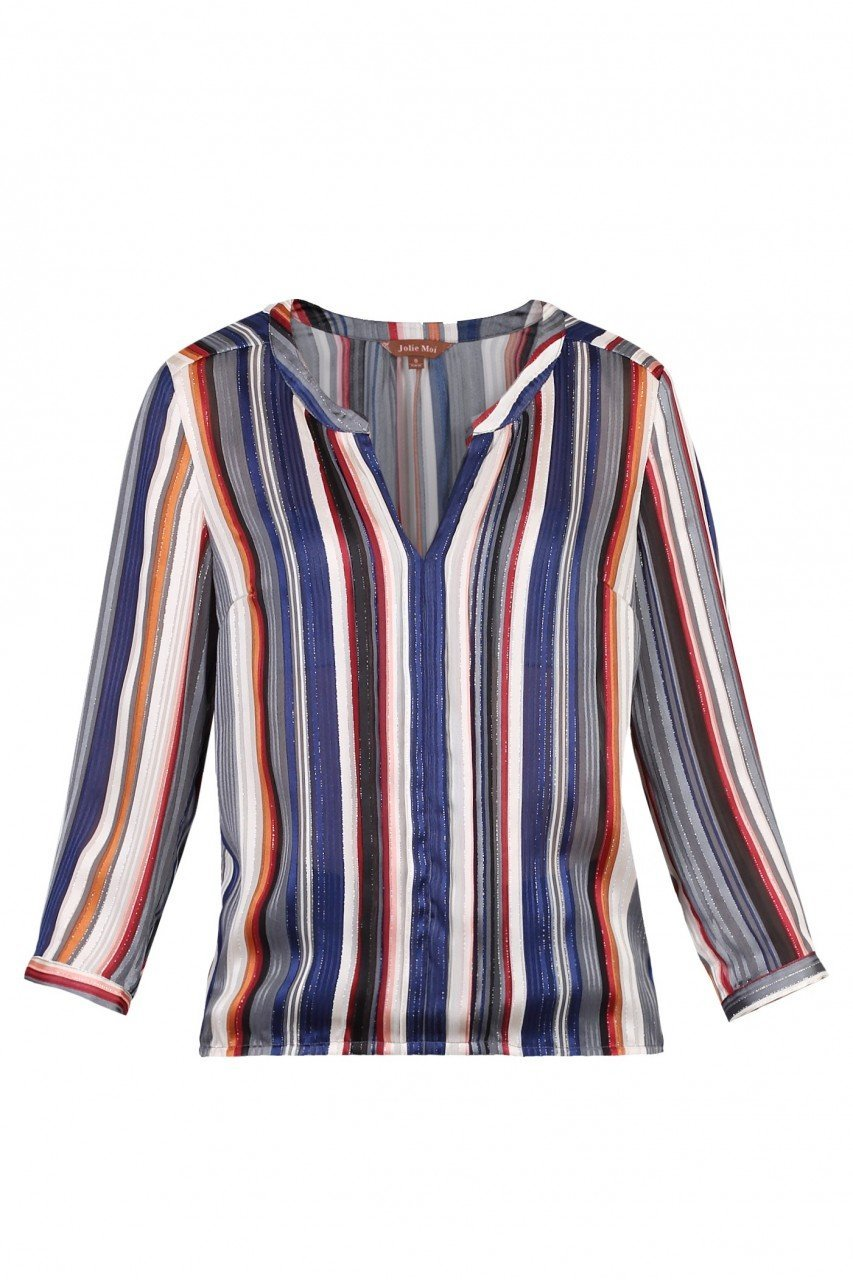 Striped Pleat Detail Blouse
