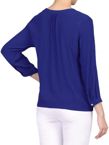 Jolie Moi Pleat Front V Neck Blouse, ROYAL BLUE