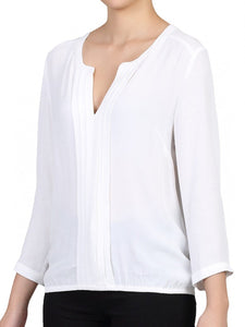 Jolie Moi Pleat Front V Neck Blouse, Ivory