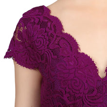 Load image into Gallery viewer, Scalloped V Neck Cap Sleeve Lace Dress, Dark Purple